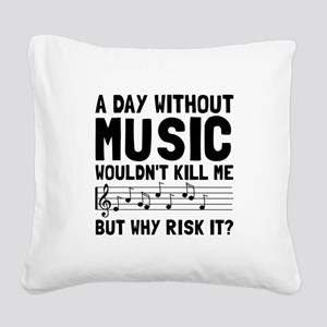 Risk It Music Square Canvas Pillow