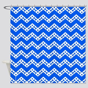 Dog Bone Chevron BLUE Shower Curtain