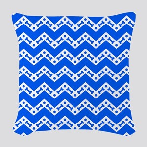 Dog Bone Chevron BLUE Woven Throw Pillow