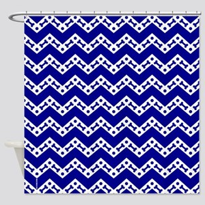 Dog Bone Chevron ROYAL BLUE Shower Curtain