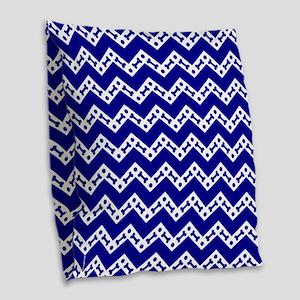 Dog Bone Chevron ROYAL BLUE Burlap Throw Pillow