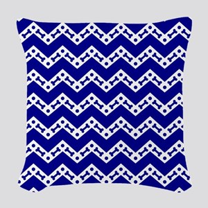 Dog Bone Chevron ROYAL BLUE Woven Throw Pillow