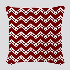 Dog Bone Chevron GARNET Woven Throw Pillow