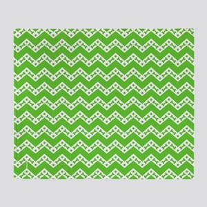 Dog Bone Chevron GREEN Throw Blanket