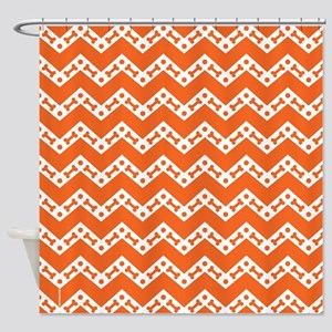 Dog Bone Chevron ORANGE Shower Curtain