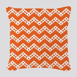 Dog Bone Chevron ORANGE Woven Throw Pillow