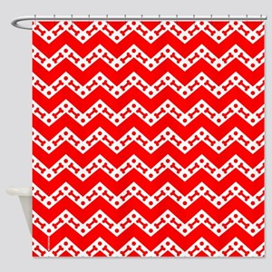 Dog Bone Chevron RED Shower Curtain