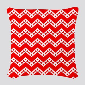 Dog Bone Chevron RED Woven Throw Pillow