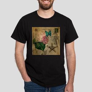 paris hydrangea butterfly seashells beach T-Shirt
