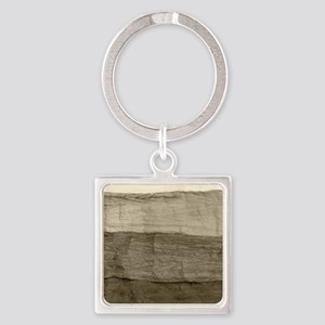 Faux Crumpled Texture Square Keychain