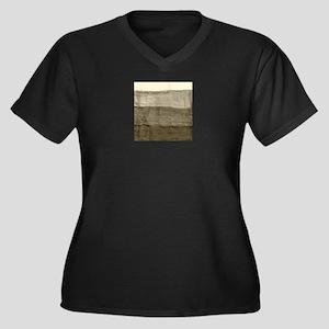 Faux Crumple Women's Plus Size V-Neck Dark T-Shirt