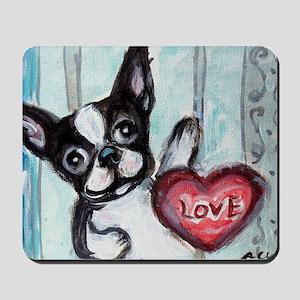 Boston Terrier Heart Mousepad