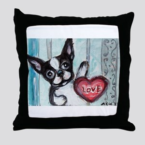 Boston Terrier Heart Throw Pillow
