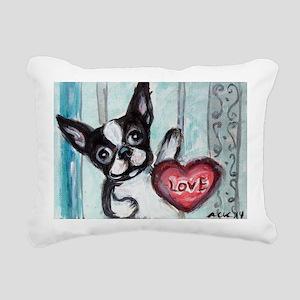 Boston Terrier Heart Rectangular Canvas Pillow