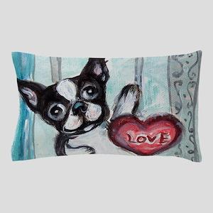 Boston Terrier Heart Pillow Case