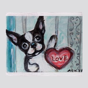 Boston Terrier Heart Throw Blanket