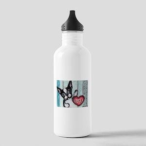 Boston Terrier Heart Water Bottle