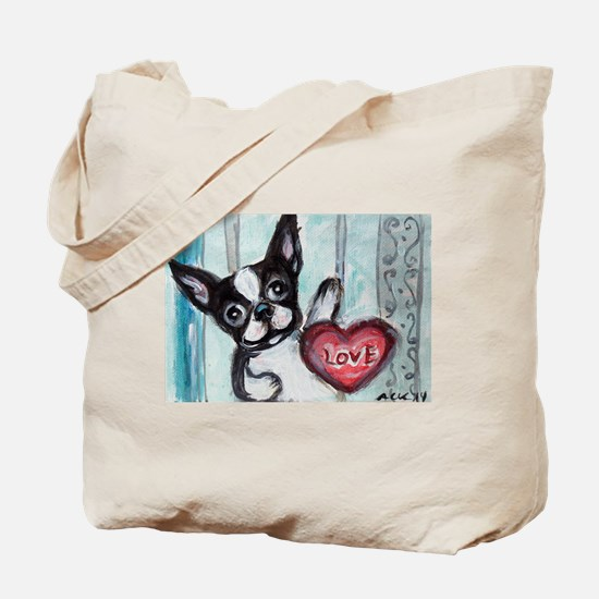 Boston Terrier Heart Tote Bag