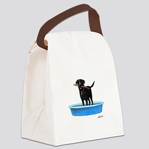 Black Labrador Retriever in kiddie pool Canvas Lun