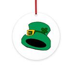 Leprechaun Hat with Shamrock Ornament (Round)