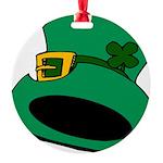 Leprechaun Hat with Shamrock Round Ornament