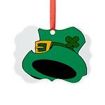 Leprechaun Hat with Shamrock Picture Ornament