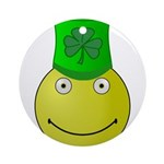 Smiley with Shamrock Ornament (Round)