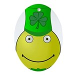 Smiley with Shamrock Ornament (Oval)