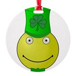 Smiley with Shamrock Round Ornament