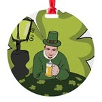 St Patricks Day Man with Beer Round Ornament