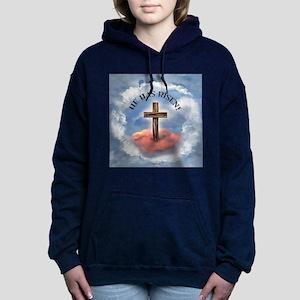 He Has Risen Rugged Cros Women's Hooded Sweatshirt