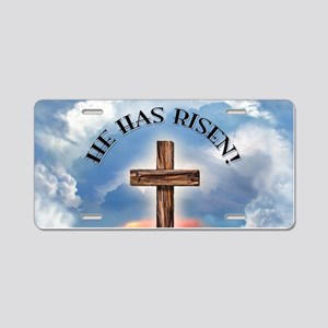 He Has Risen Rugged Cross W Aluminum License Plate