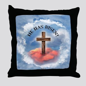 He Has Risen Rugged Cross With Clouds Throw Pillow