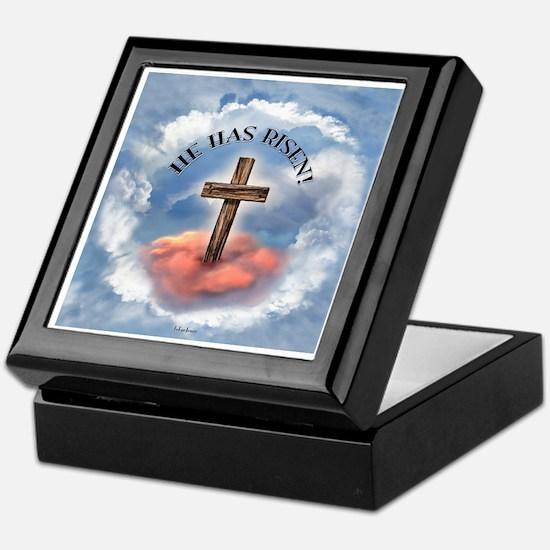 He Has Risen Rugged Cross With Clouds Keepsake Box