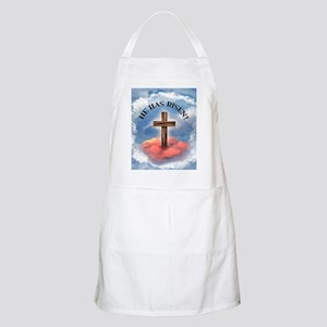 He Has Risen Rugged Cross With Clouds Apron