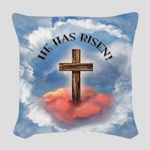 He Has Risen Rugged Cross With Woven Throw Pillow