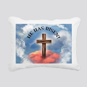 He Has Risen Rugged Cros Rectangular Canvas Pillow