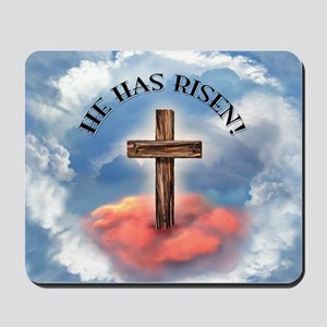 He Has Risen Rugged Cross With Clouds Mousepad