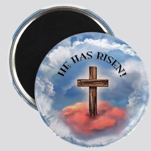 He Has Risen Rugged Cross With Clouds Magnet