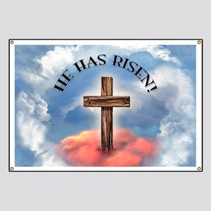 He Has Risen Rugged Cross With Clouds Banner