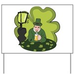 St Patricks Day Man with Beer Yard Sign