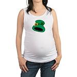 Leprechaun Hat with Shamrock Maternity Tank Top