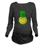 Smiley with Shamrock Long Sleeve Maternity T-Shirt