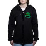 Leprechaun Hat with Shamrock Women's Zip Hoodie