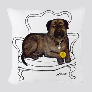 Mastiff In A Chair Woven Throw Pillow