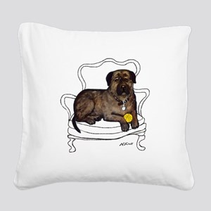 Mastiff in a chair Square Canvas Pillow