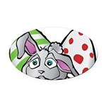 Spring Bunny with Easter Eggs Oval Car Magnet