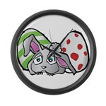 Spring Bunny with Easter Eggs Large Wall Clock
