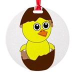 Newborn Chick with Chocolate Egg Round Ornament