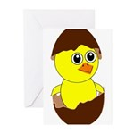 Newborn Chick with Chocolate Egg Greeting Cards